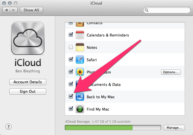 Back to My Mac enabled in the iCloud prefpane